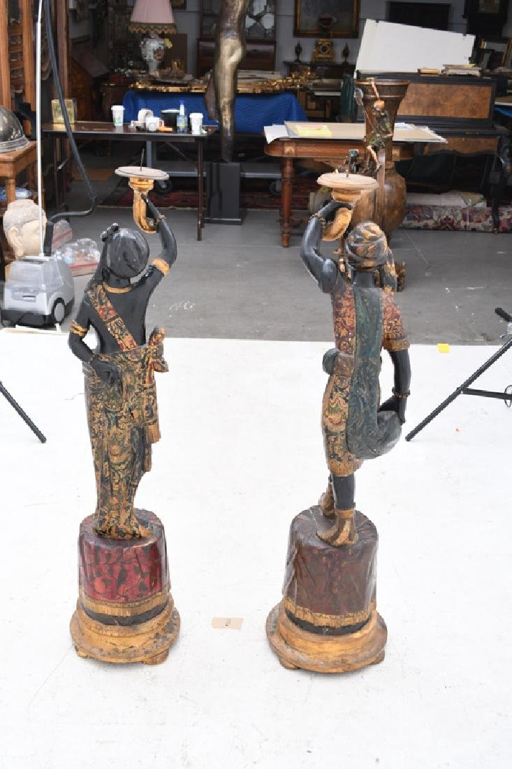 PAIR OF CARVED & POLYCHROME WOOD BLACKAMOORS TORCHIERES - 2