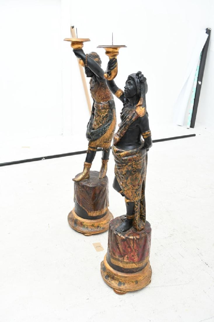 PAIR OF CARVED & POLYCHROME WOOD BLACKAMOORS TORCHIERES - 3