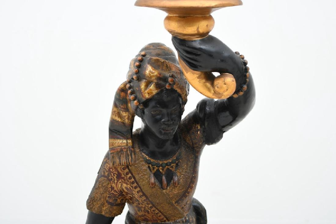 PAIR OF CARVED & POLYCHROME WOOD BLACKAMOORS TORCHIERES - 4