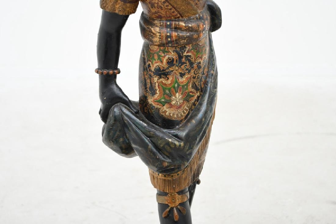 PAIR OF CARVED & POLYCHROME WOOD BLACKAMOORS TORCHIERES - 5