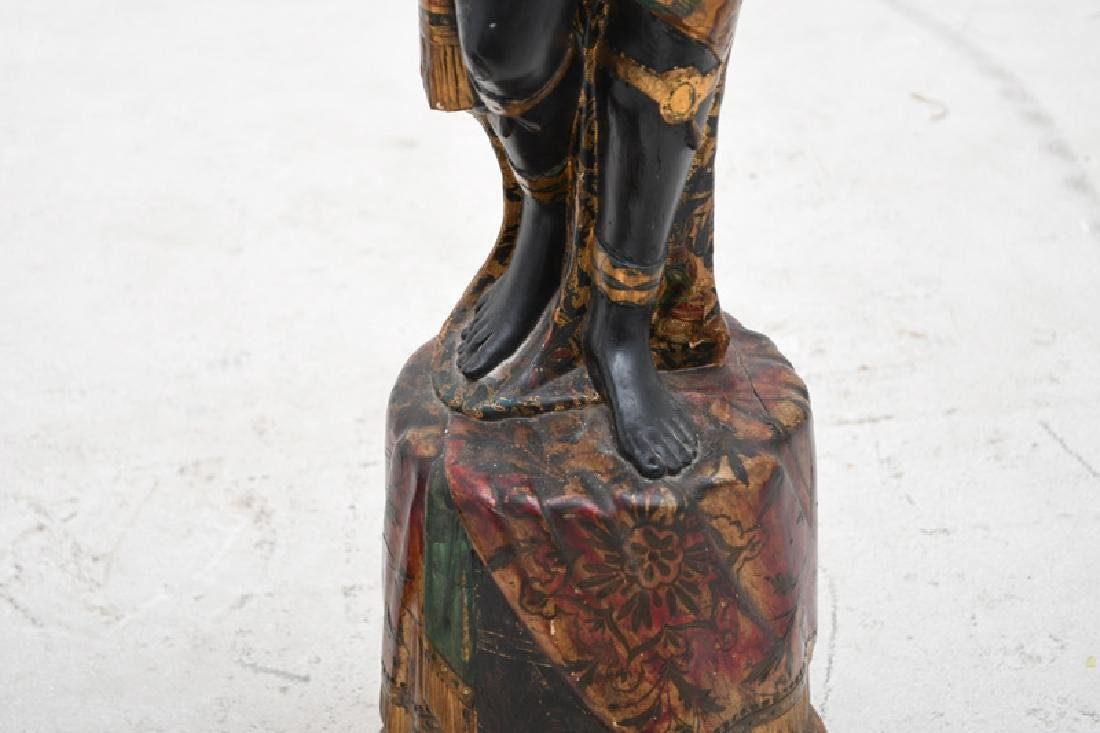 PAIR OF CARVED & POLYCHROME WOOD BLACKAMOORS TORCHIERES - 8