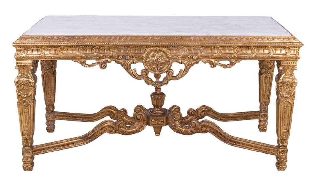LOUIS XVI STYLE CARVED GILTWOOD & MARBLE-INSET SALON