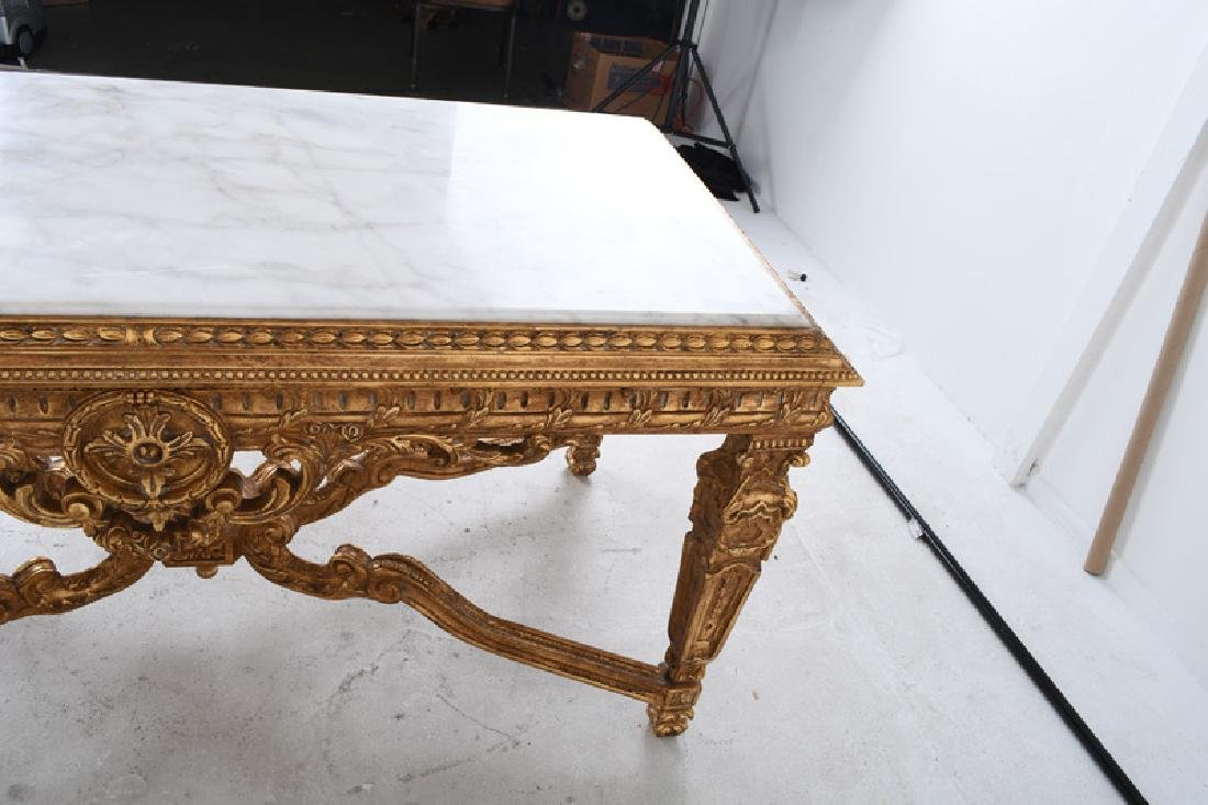 LOUIS XVI STYLE CARVED GILTWOOD & MARBLE-INSET SALON - 4