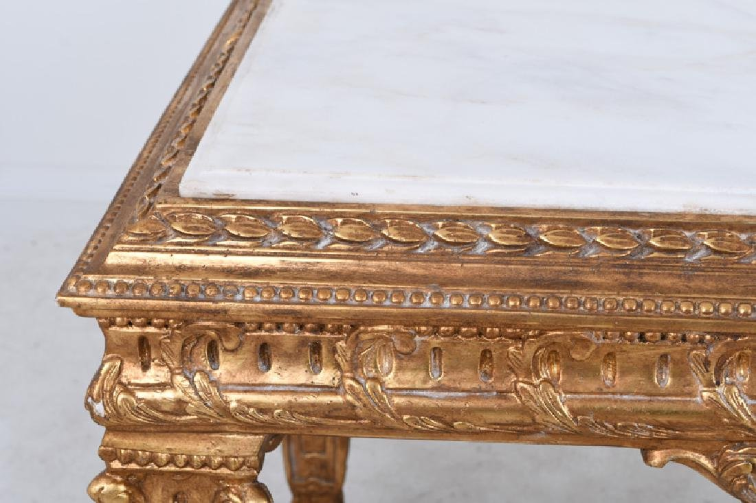 LOUIS XVI STYLE CARVED GILTWOOD & MARBLE-INSET SALON - 5