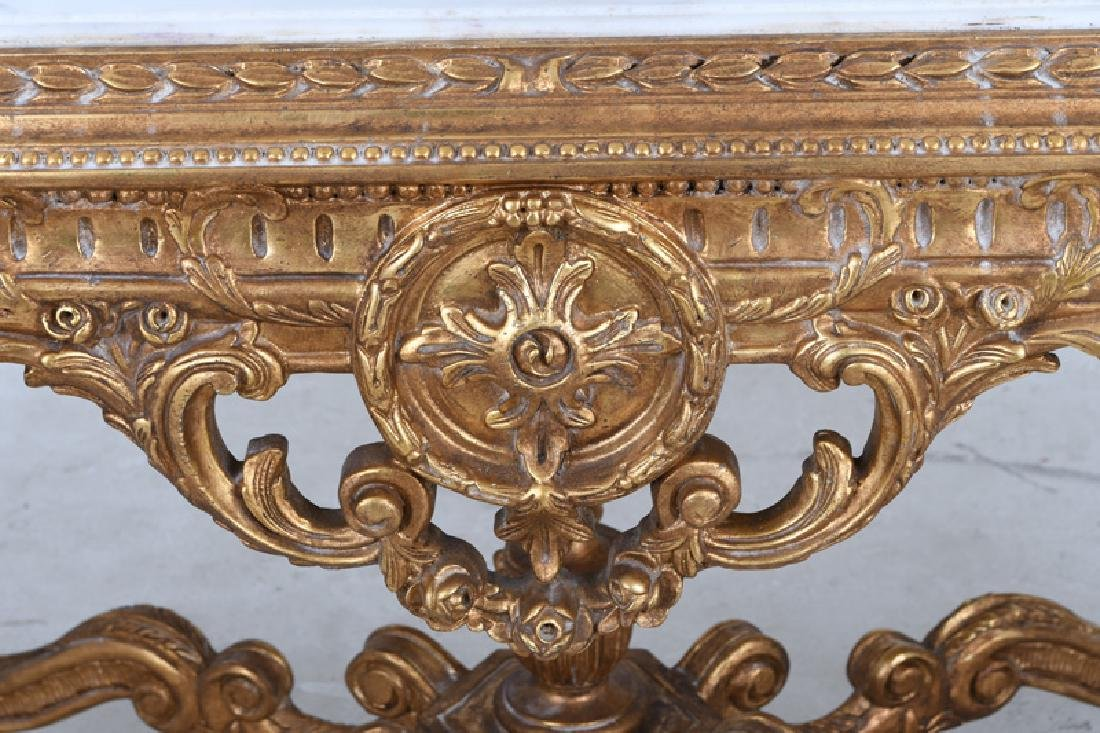 LOUIS XVI STYLE CARVED GILTWOOD & MARBLE-INSET SALON - 6
