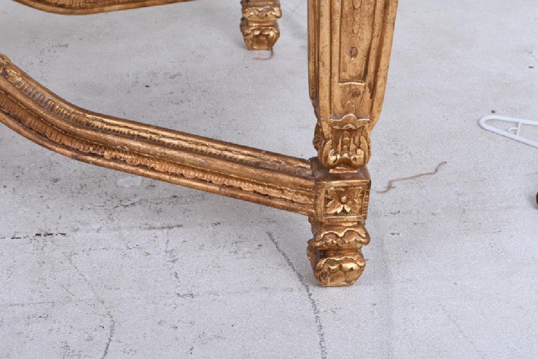 LOUIS XVI STYLE CARVED GILTWOOD & MARBLE-INSET SALON - 8
