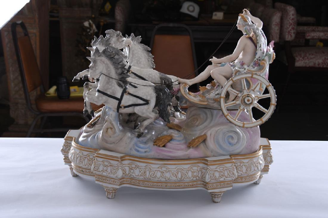 MEISSEN STYLE PORCELAIN CHARIOT GROUP - 8