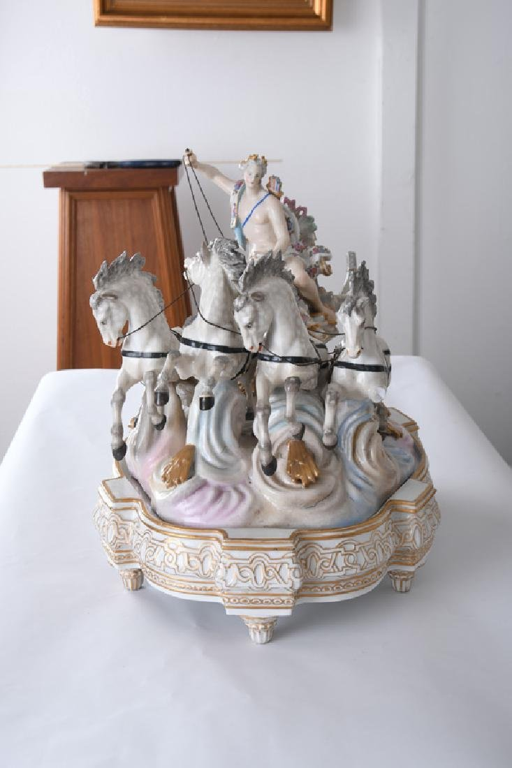 MEISSEN STYLE PORCELAIN CHARIOT GROUP - 9