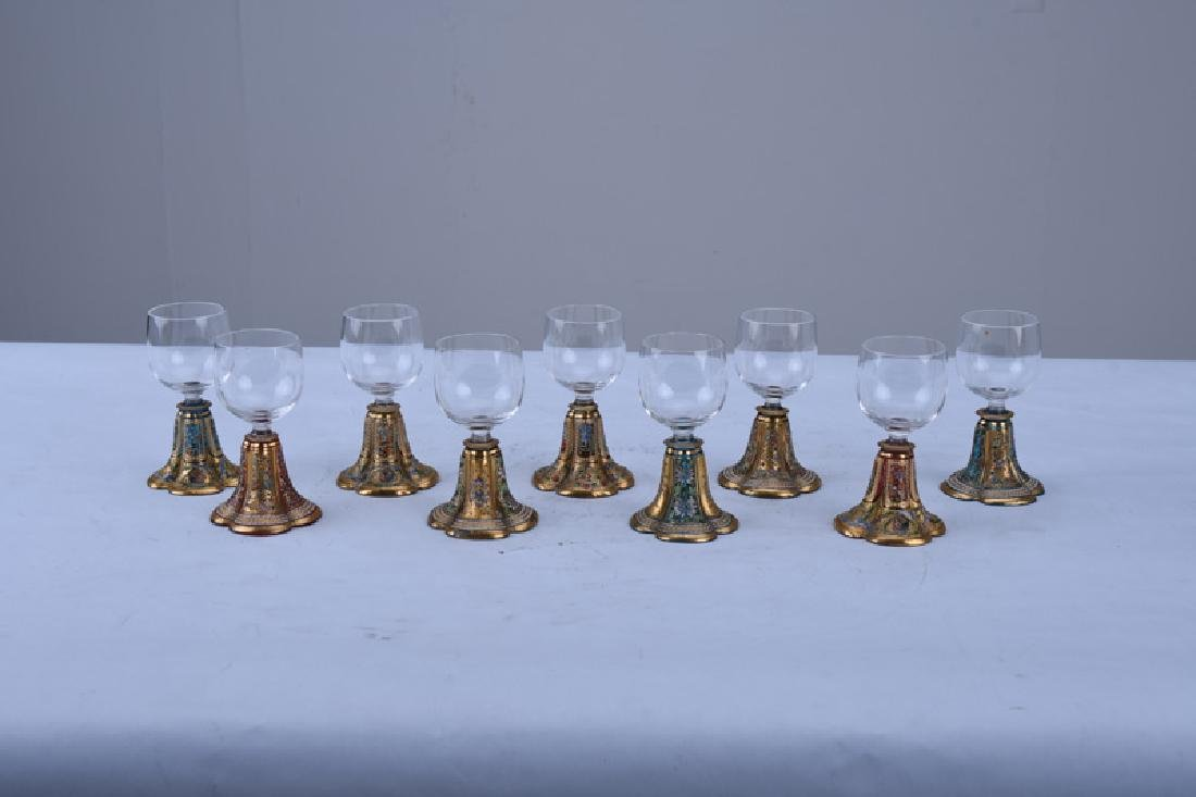NINE ETCHED & ENAMEL CORDIALS - 2