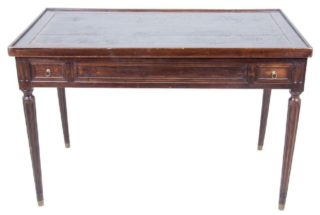 LOUIS XVI CARVED WALNUT & LEATHER INSET TRIC-TRAC TABLE