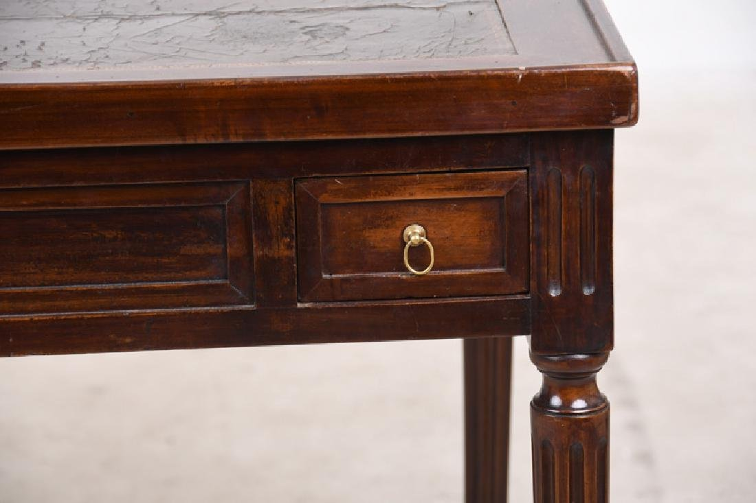 LOUIS XVI CARVED WALNUT & LEATHER INSET TRIC-TRAC TABLE - 2