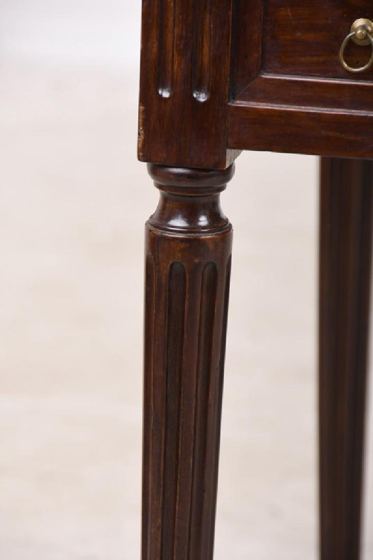LOUIS XVI CARVED WALNUT & LEATHER INSET TRIC-TRAC TABLE - 3