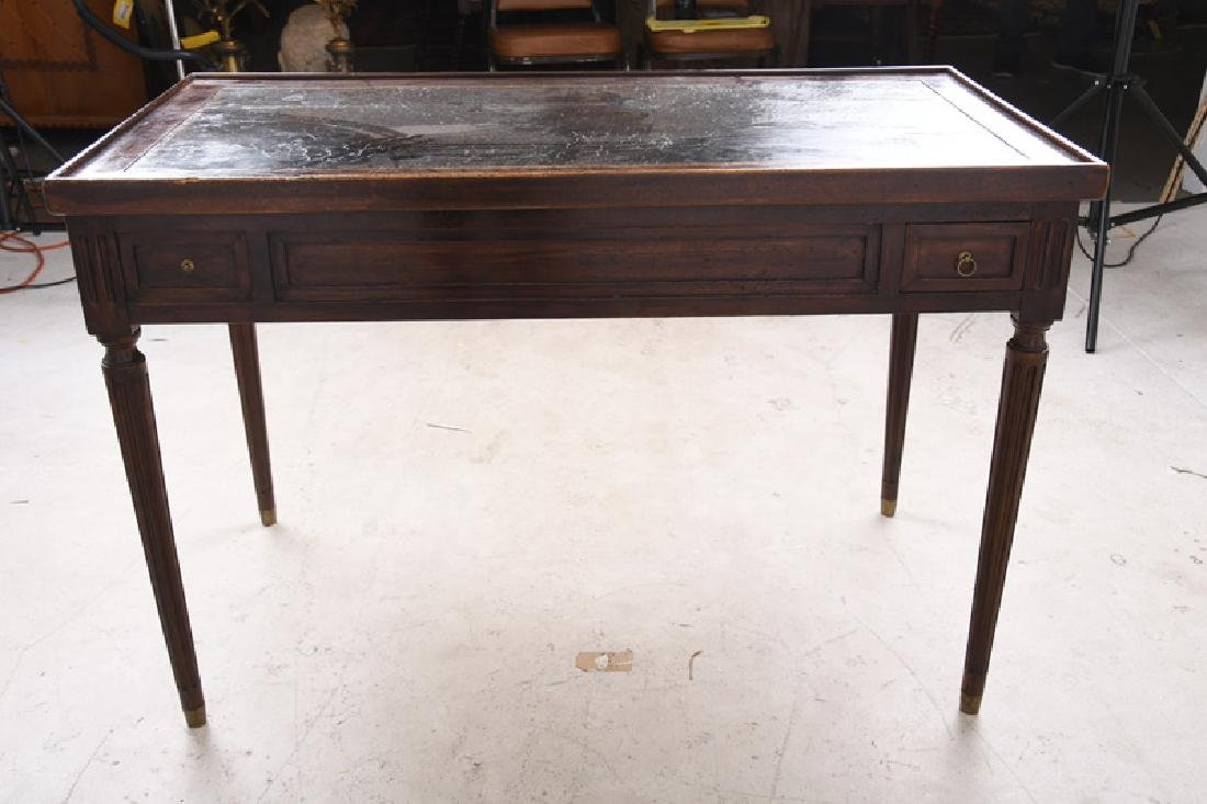 LOUIS XVI CARVED WALNUT & LEATHER INSET TRIC-TRAC TABLE - 6