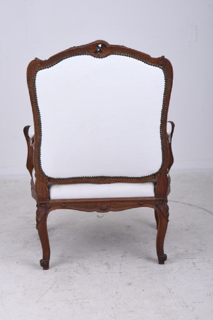 PAIR OF LOUIS XV STYLE CARVED WALNUT FAUTEUILS - 4