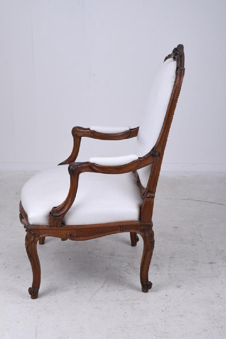 PAIR OF LOUIS XV STYLE CARVED WALNUT FAUTEUILS - 5