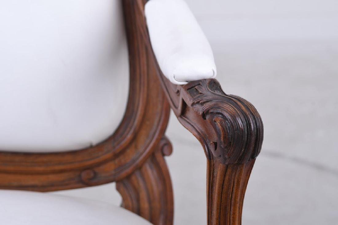 PAIR OF LOUIS XV STYLE CARVED WALNUT FAUTEUILS - 7