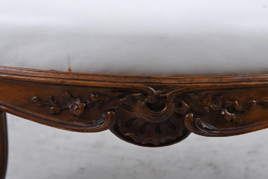 PAIR OF LOUIS XV STYLE CARVED WALNUT FAUTEUILS - 8
