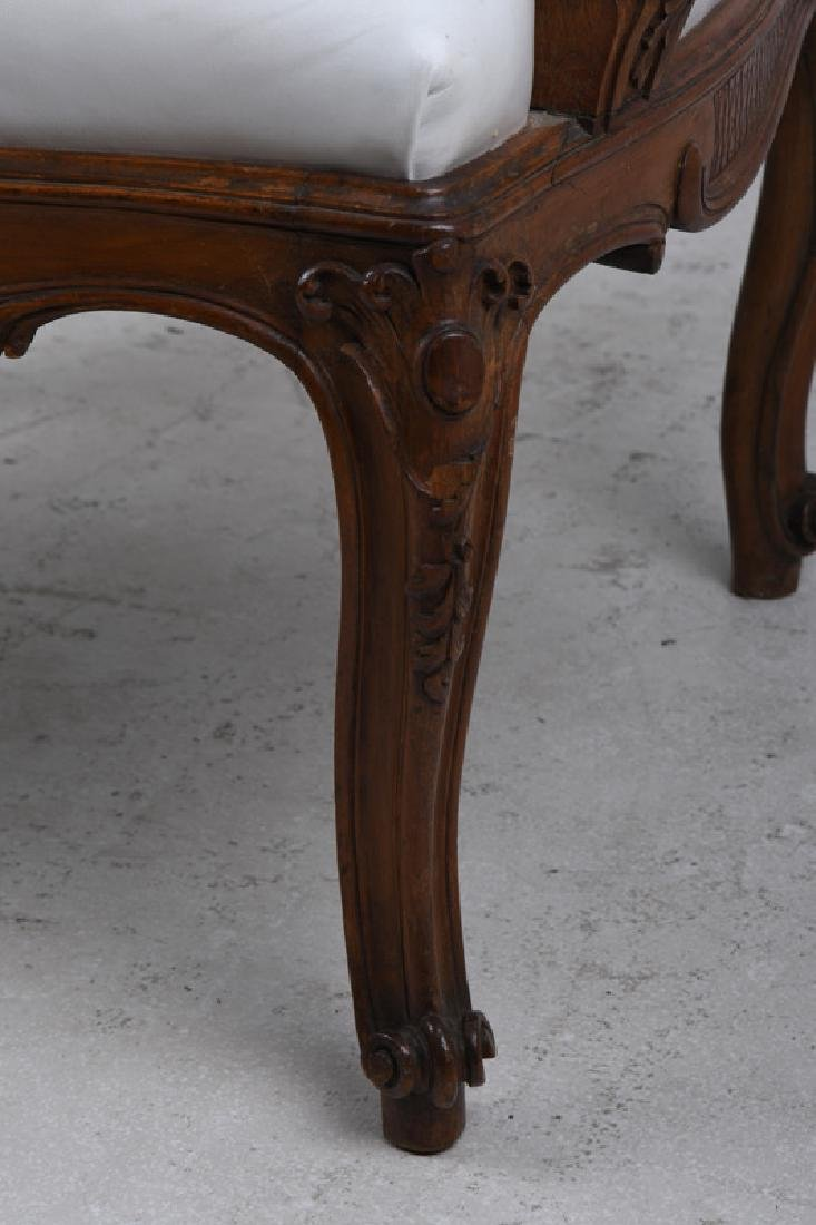 PAIR OF LOUIS XV STYLE CARVED WALNUT FAUTEUILS - 9