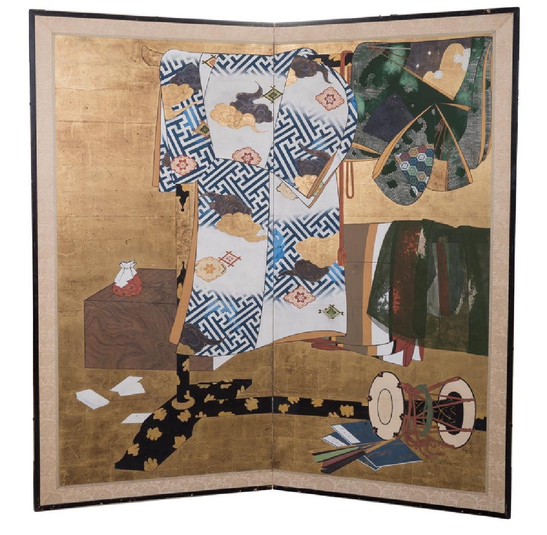 JAPANESE TAGASODE TWO-PANEL SCREEN