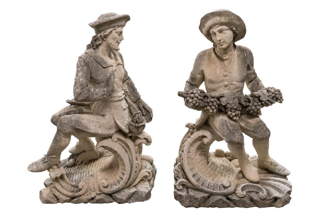 PAIR OF ITALIAN CAST CEMENT GARDEN STATUES OF SEATED