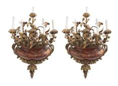 PAIR OF FRENCH GILT BRONZE & ROUGE MARBLE FIVE-LIGHT