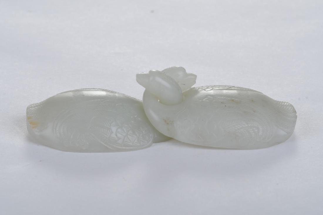 "CHINESE WHITE JADE CARVED ""GEESE"" BUCKLE - 2"