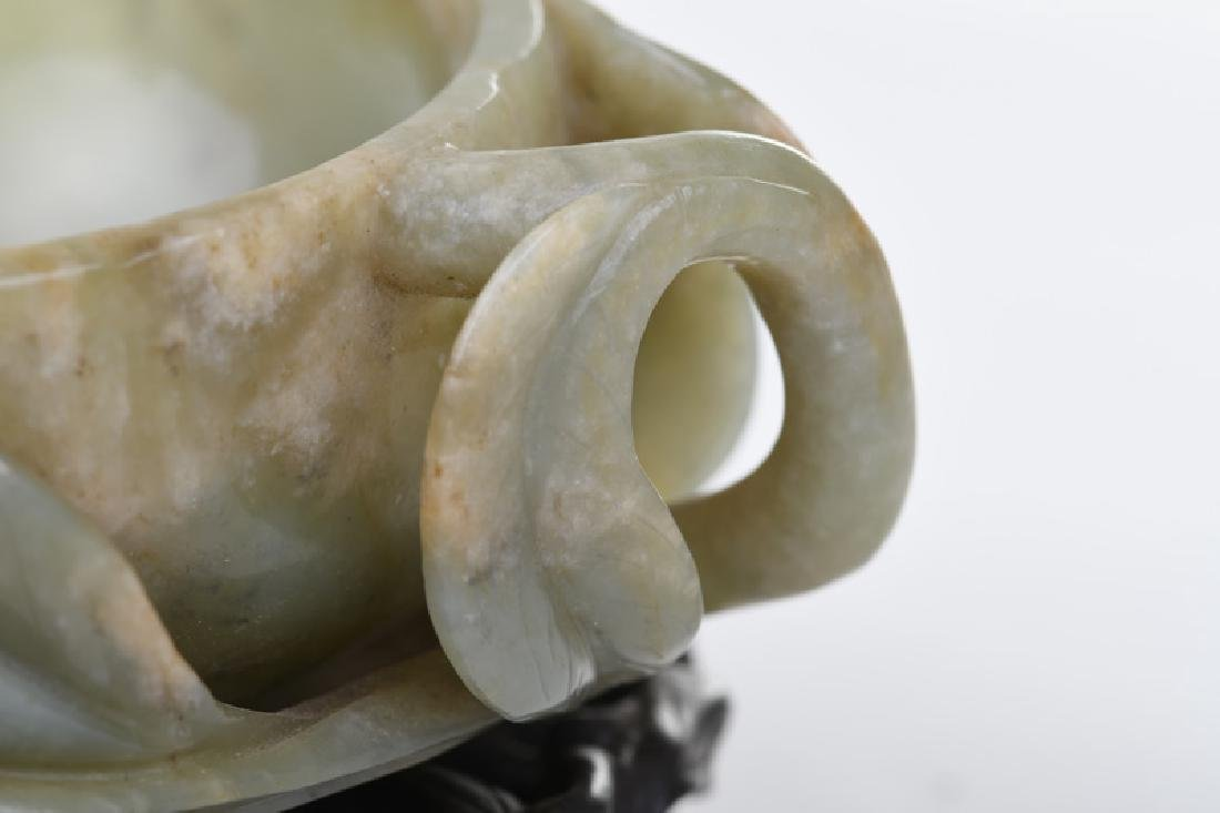 CHINESE CARVED JADE BOWL - 4