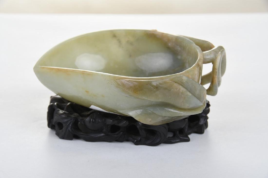 CHINESE CARVED JADE BOWL - 6