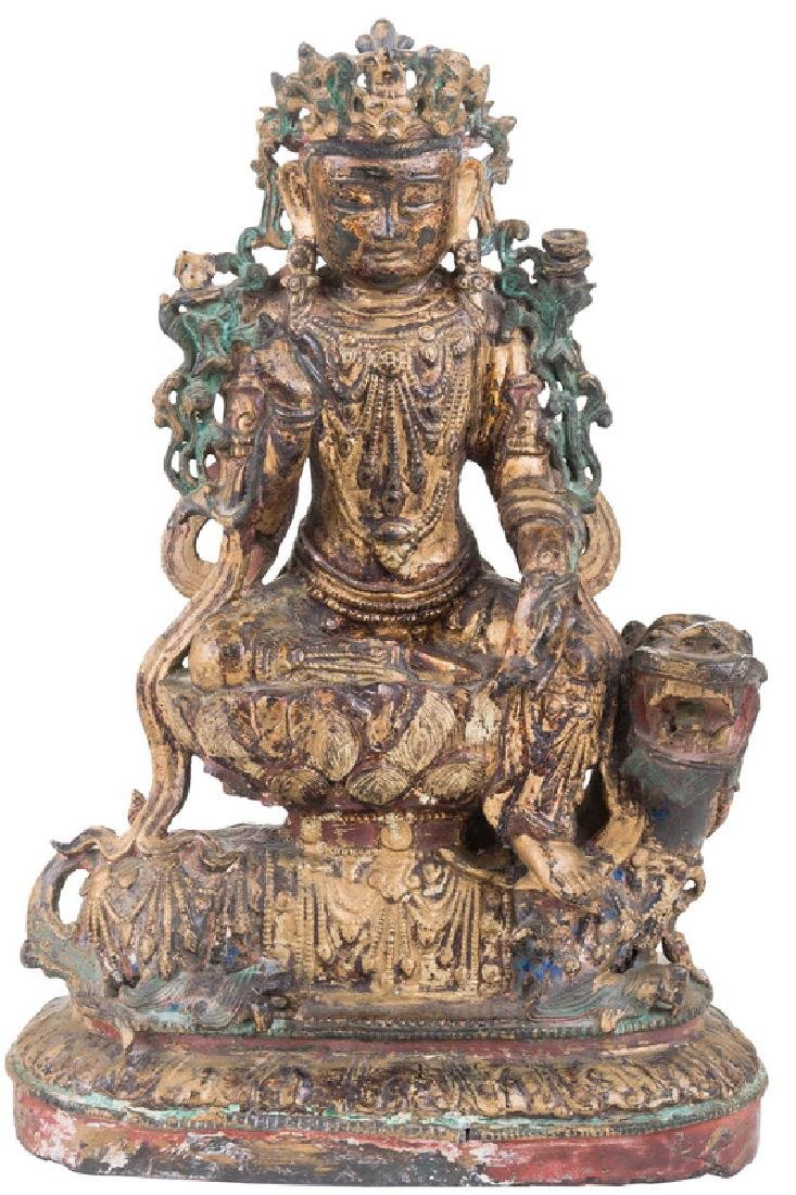 CHINESE GILT BRONZE & GILT LACQUERED FIGURE OF GUANYIN