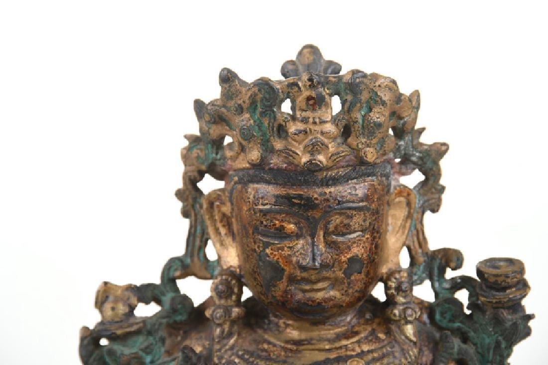 CHINESE GILT BRONZE & GILT LACQUERED FIGURE OF GUANYIN - 4