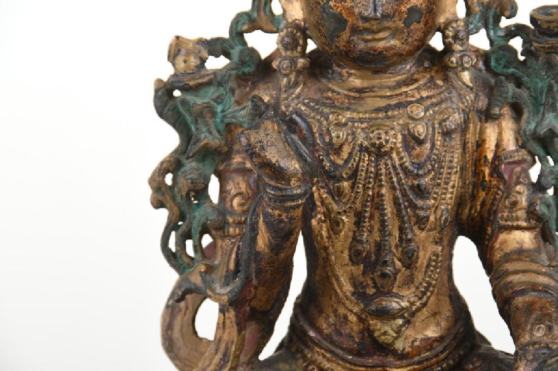 CHINESE GILT BRONZE & GILT LACQUERED FIGURE OF GUANYIN - 5