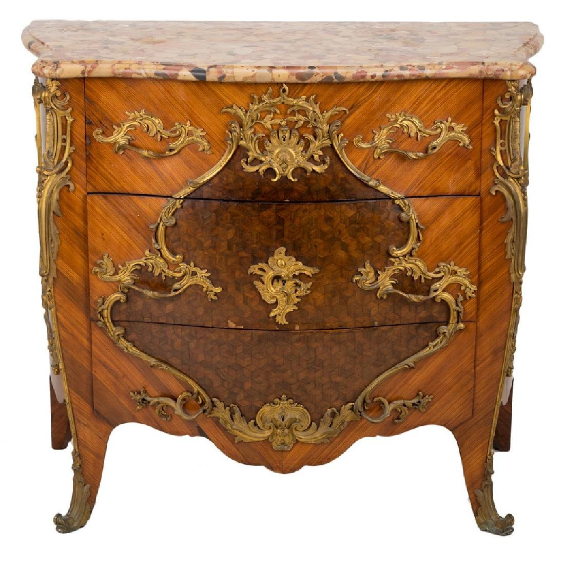 LOUIS XV STYLE GILT BRONZE MOUNTED KINGWOOD & PARQUETRY