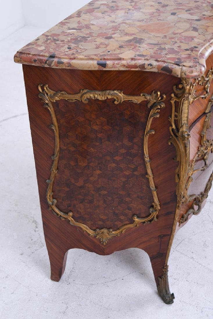 LOUIS XV STYLE GILT BRONZE MOUNTED KINGWOOD & PARQUETRY - 8