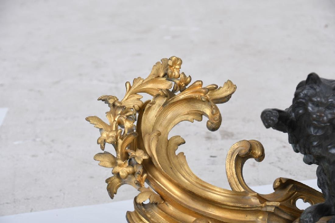 PAIR OF LOUIS XV GILT & PATINATED BRONZE CHENETS - 4