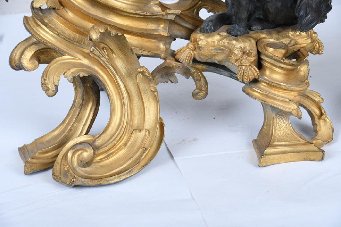 PAIR OF LOUIS XV GILT & PATINATED BRONZE CHENETS - 6