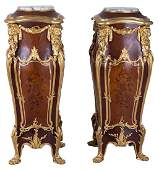 PAIR OF LOUIS XV STYLE ORMOLU-MOUNTED MARQUETRY