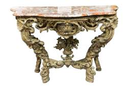 VENETIAN ROCOCO PAINTED & CARVED WOOD CONSOLE