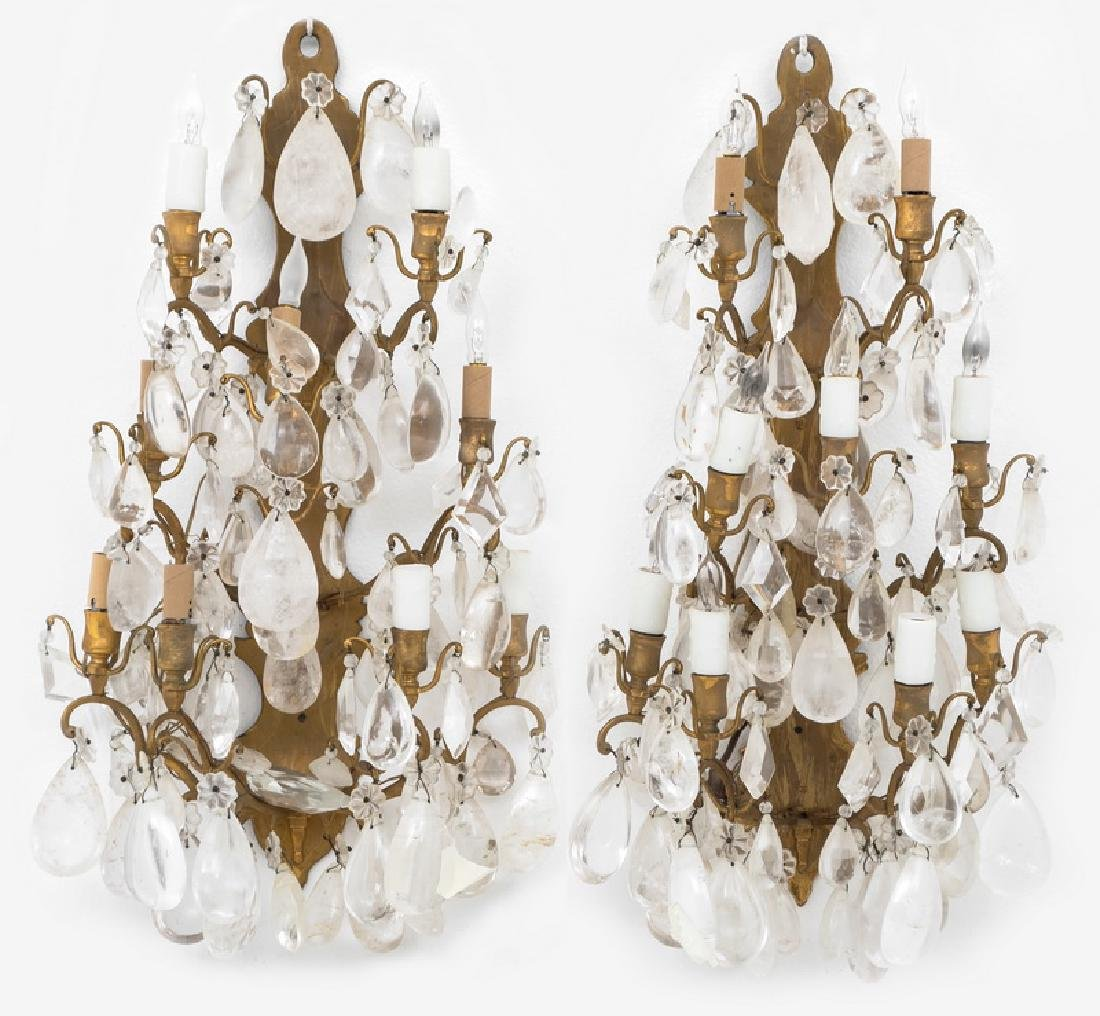 PAIR OF GILT BRONZE & ROCK CRYSTAL NINE-LIGHT SCONCES