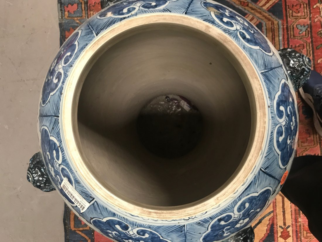 PAIR OF MONUMENTAL CHINESE BLUE & WHITE TEMPLE URNS - 10
