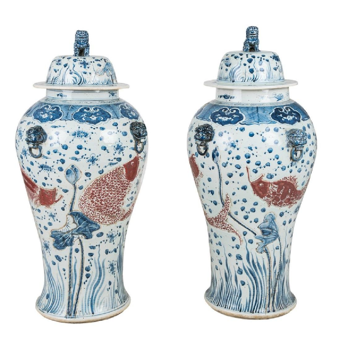 PAIR OF MONUMENTAL CHINESE BLUE & WHITE TEMPLE URNS