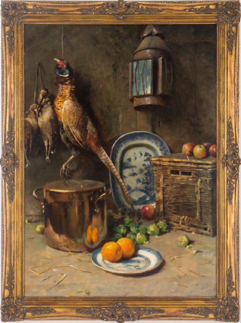 "FREDERICK HALL: ""STILL LIFE WITH HANGING GAME & FRUIT"""