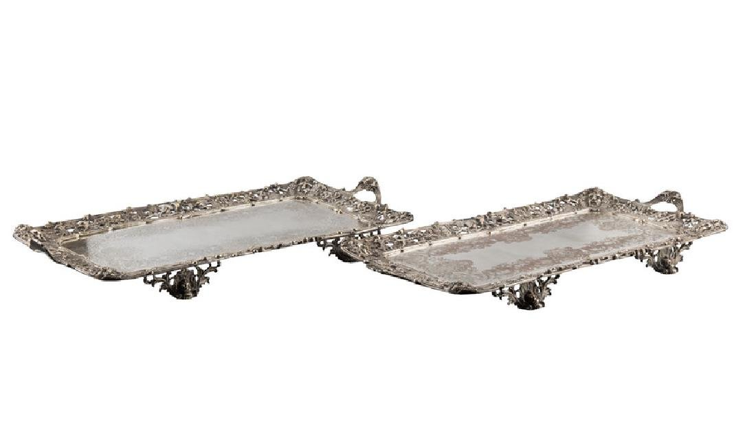 PAIR OF ENGLISH SILVER PLATE FOOTED TRAYS