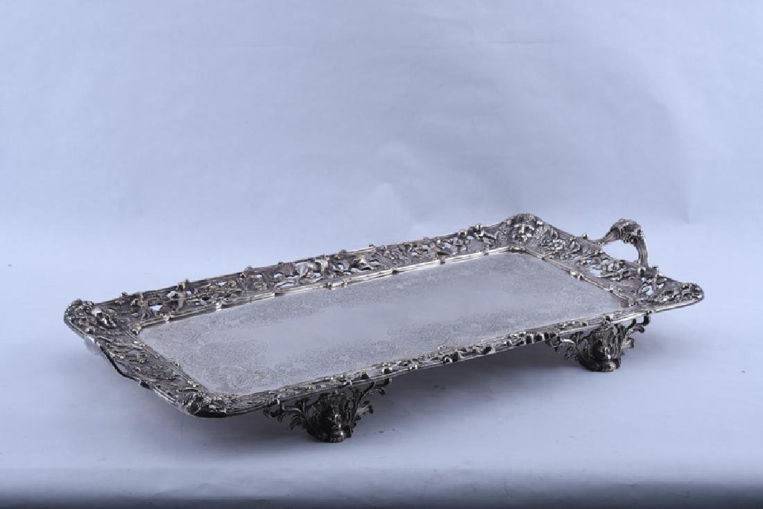 PAIR OF ENGLISH SILVER PLATE FOOTED TRAYS - 2