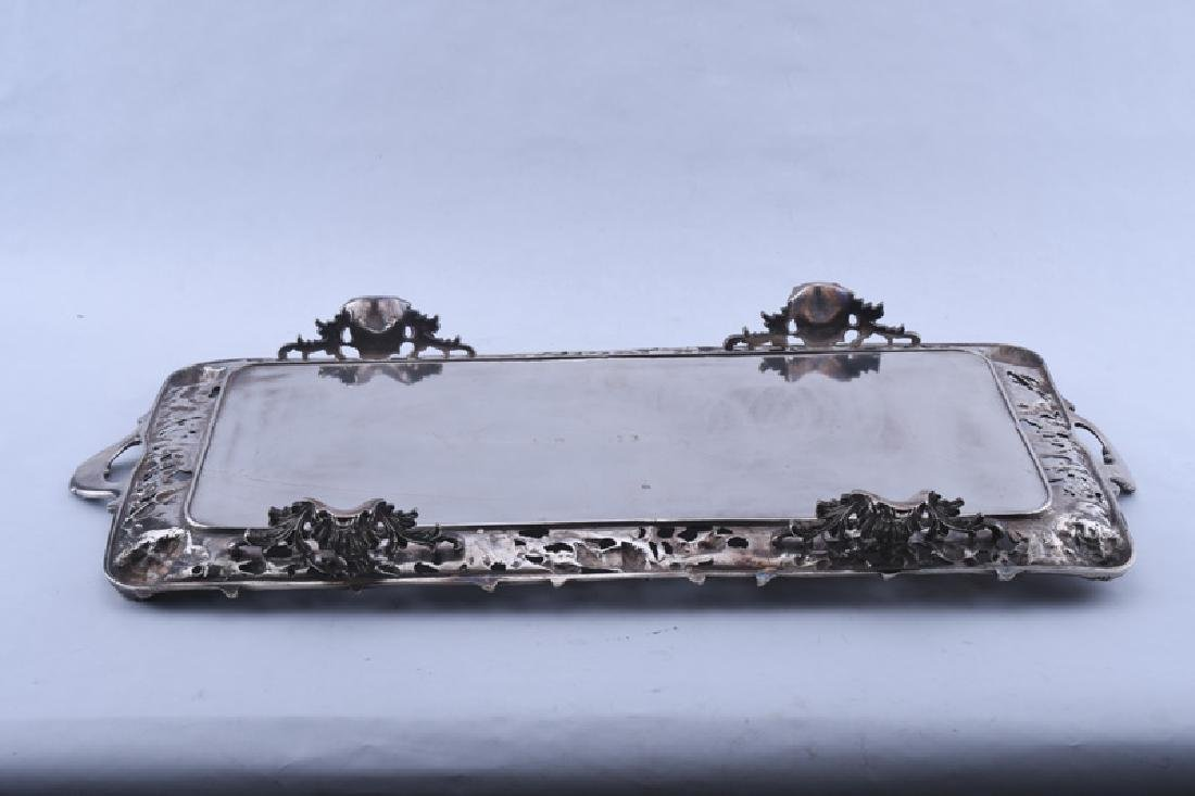PAIR OF ENGLISH SILVER PLATE FOOTED TRAYS - 7