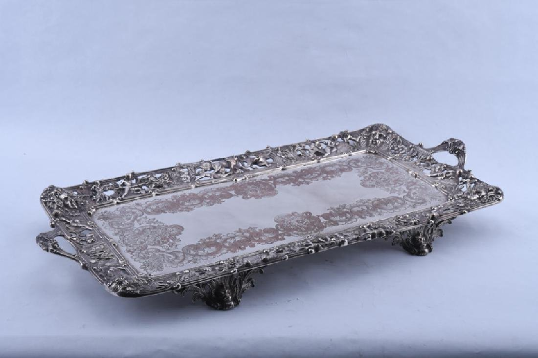 PAIR OF ENGLISH SILVER PLATE FOOTED TRAYS - 8