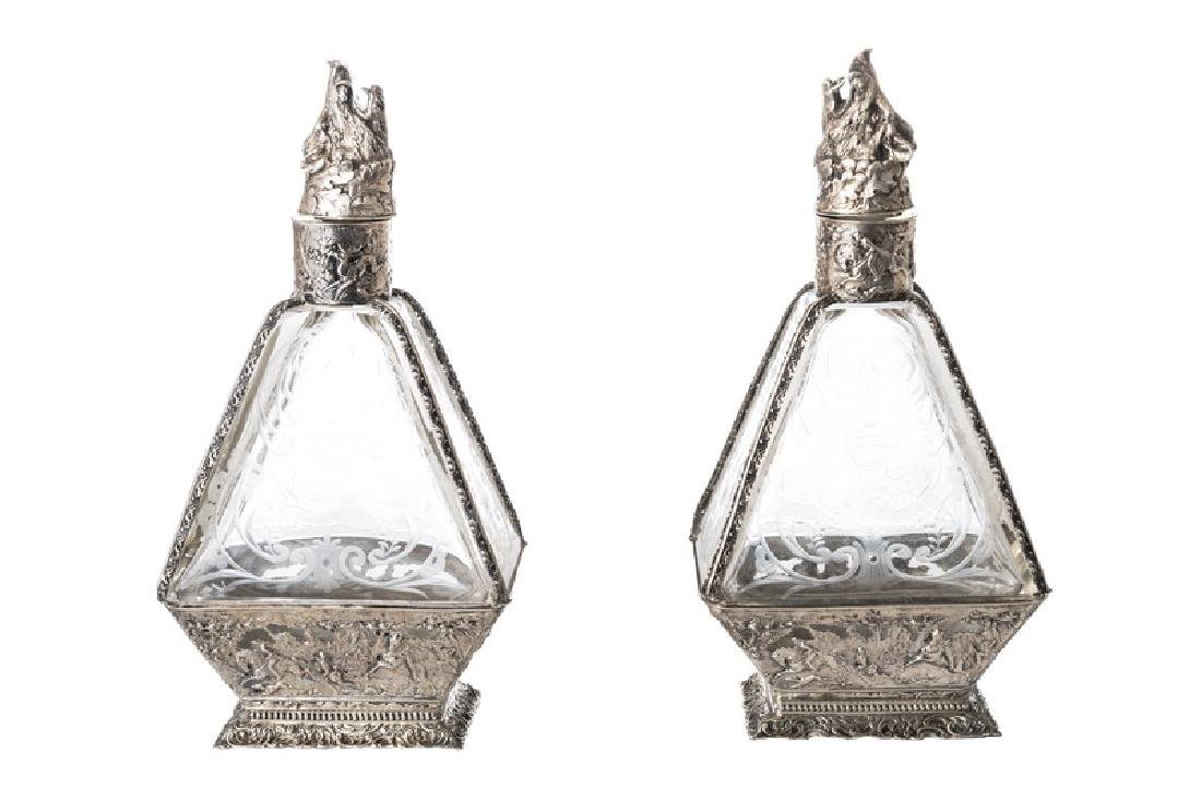 PAIR OF GERMAN .800 SILVER & ETCHED GLASS DECANTERS