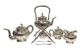 CHINESE EXPORT FOURPIECE STERLING SILVER TEA SET