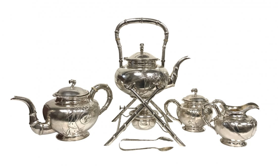 CHINESE EXPORT FOUR-PIECE STERLING SILVER TEA SET