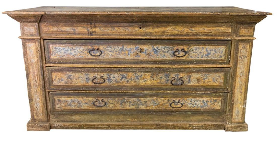 ITALIAN PROVINCIAL POLYCHROME-PAINTED THREE-DRAWER