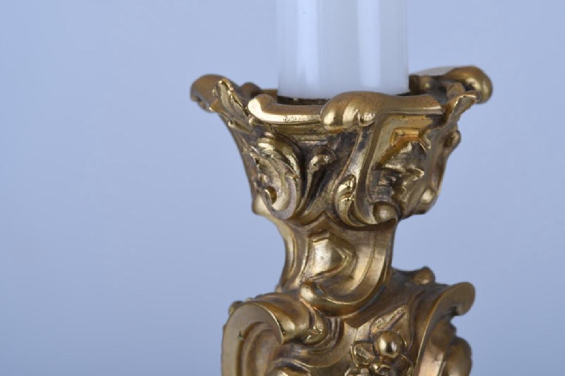 LOUIS XV STYLE GILT BRONZE CANDELABRUM TABLE LAMP - 4
